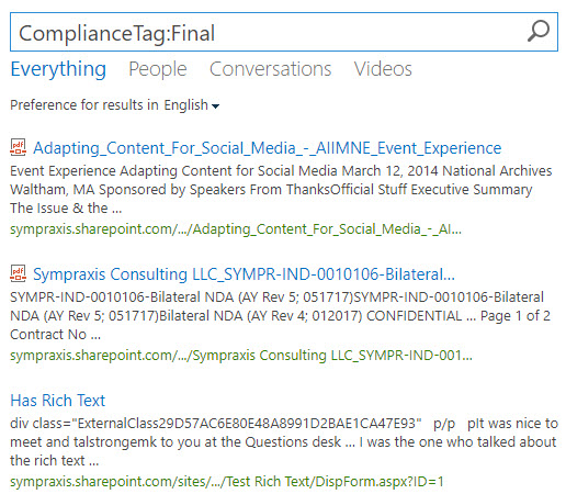 """Using Security & Compliance Labels for Content Rollup in """"Modern"""