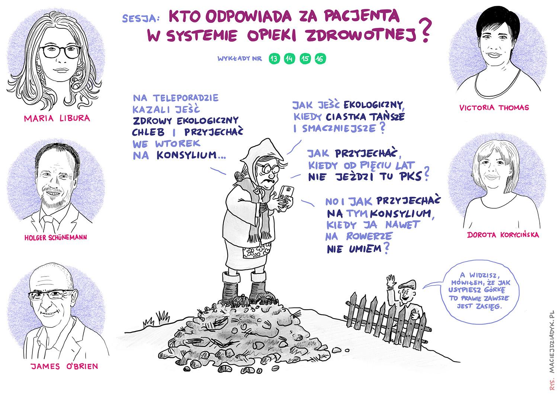 Sesja 4. Kto odpowiada za pacjenta w systemie opieki zdrowotnej? Rys. Maciej Dziadyk maciejdziadyk.pl