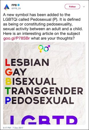 "the deleted FPB tweet referring to ""pedosexual"" alongside LGBTQi"