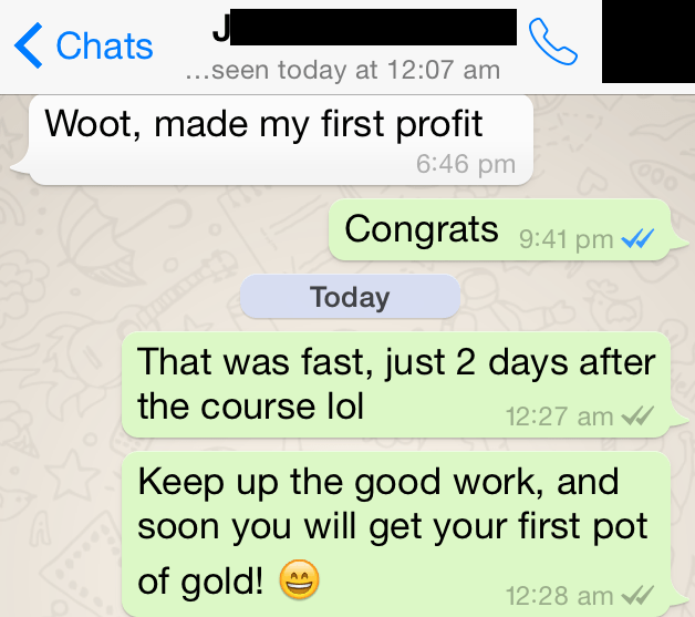 first profits after 2 days
