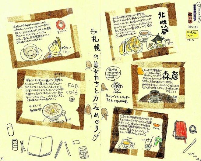 モレスキン絵日記(札幌、友人たちに連れて行ってもらった素敵カフェ その1) マステフレーム