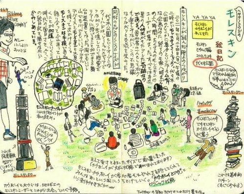 モレスキン絵日記(代々木公園でのモレスキンミーティング)