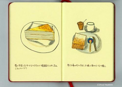 フードイラストモレスキン。ミルクレープとパン。