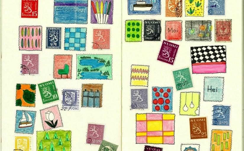 フィンランドの古切手と切手風イラストのコラージュ。モレスキンアート