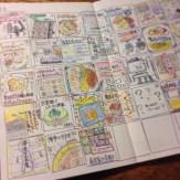 モレスキン(ヴォラン)に作った自作手帳に続けたマンスリー絵日記。日々の思い出を1コマイラストにした手法を確立。