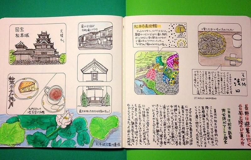モレスキン絵日記:松本散策編(またゆっくり散策したい街)