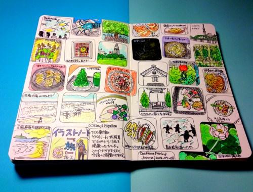モレスキンに描いたマンスリー絵日記。7月8月のまとめ。海へ高原へ美術館へと、夏を満喫しました。
