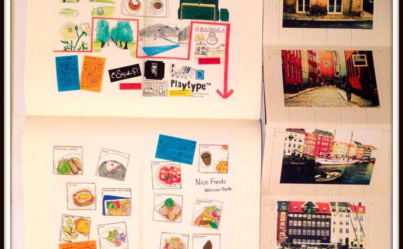 モレスキンアトリエ(有楽町ロフト)での展示イメージその2。2012年のデンマーク旅行記モレスキン。