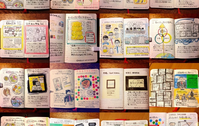 (モレスキン見本)デイリーダイアリーでのモレスキン絵日記、3ヶ月経過。