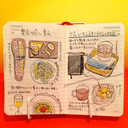 2015年11月17日と11月18日のモレスキン絵日記。