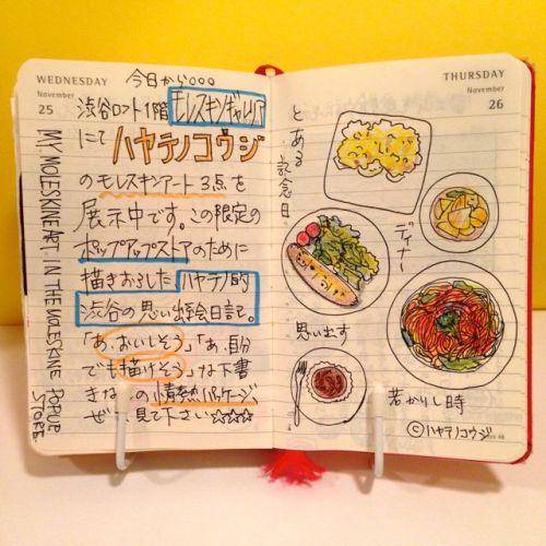 2015年11月25日と11月26日のモレスキン絵日記。
