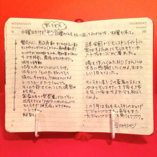 2015年12月9日と12月10日のモレスキン絵日記。