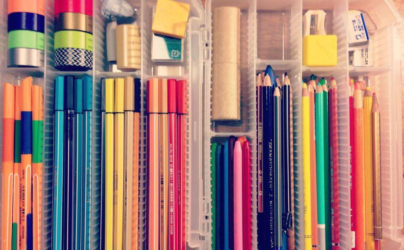 (着想)大量の色鉛筆・マーカー・ペンを「フリーパーツケース」で整理