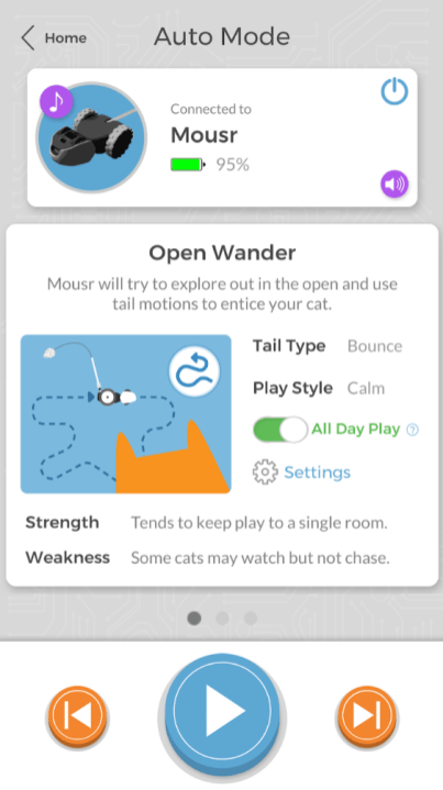 Mousr by Petronics and paired phone app interface