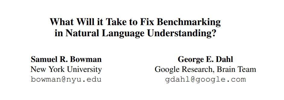 Google Brain & NYU Guidelines Address 'Broken' NLU Benchmarking