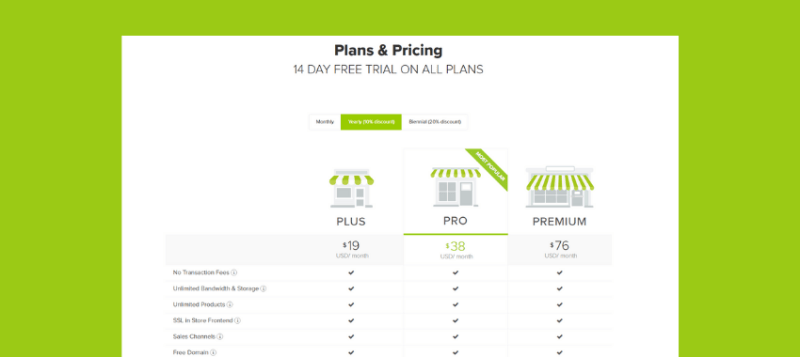 Jumpseller plans and pricing
