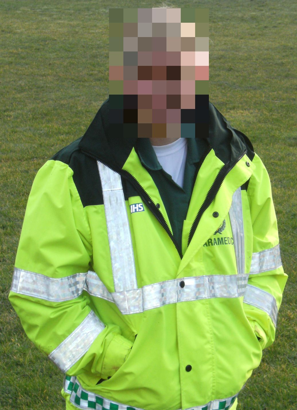 "A picture of Angela Bayley, the author of ""Disruptive"", in her paramedic jacket"