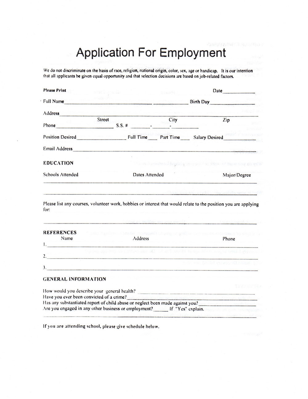 Daycare Job Application