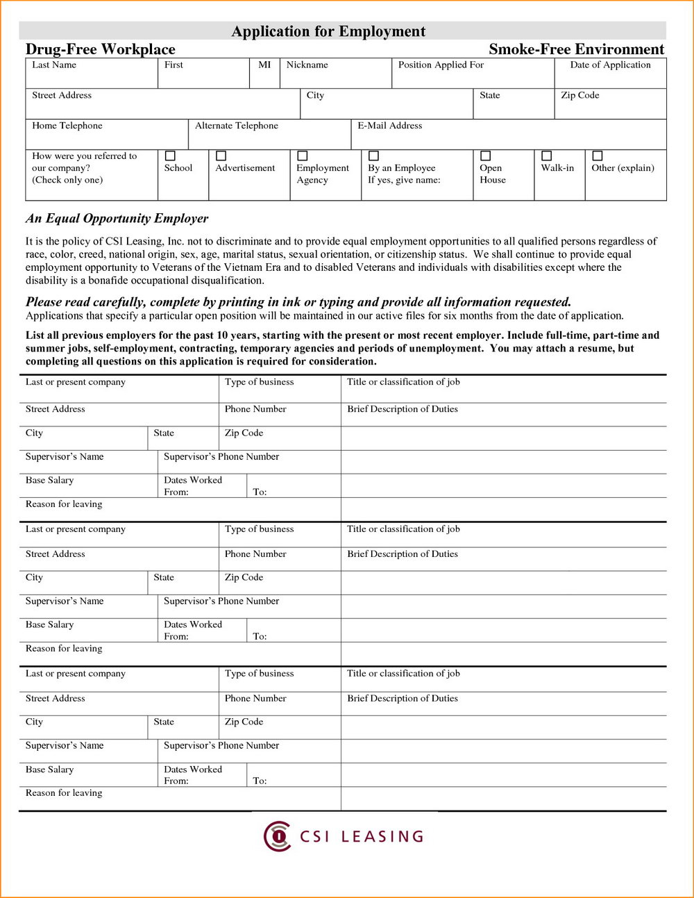 Free Printable Job Applications Forms