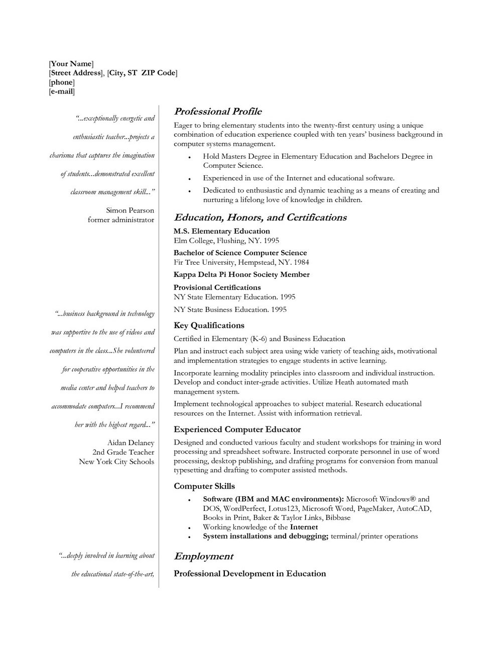 Resume Templates For Teachers – Resume Templates 2017 In