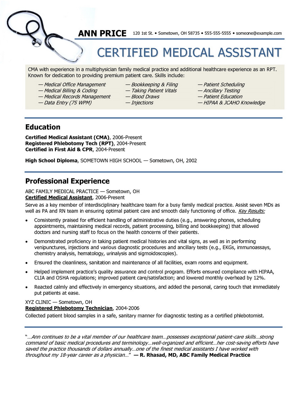 Medical Assistant Resume Samples Free