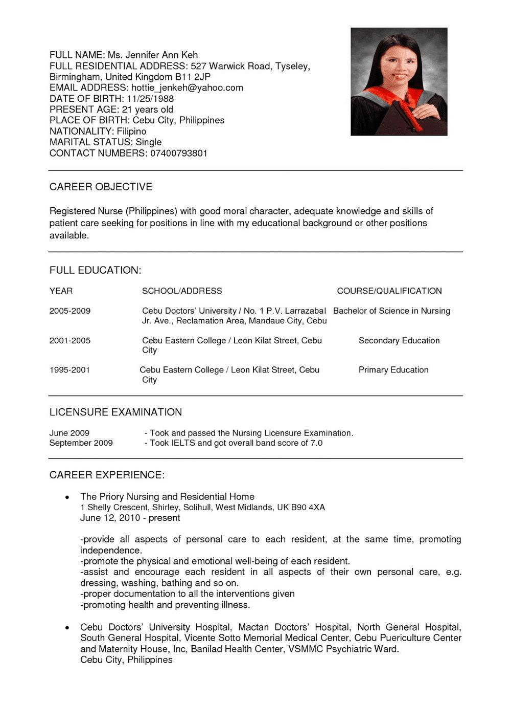 Registered Nurse Resume Template Canada