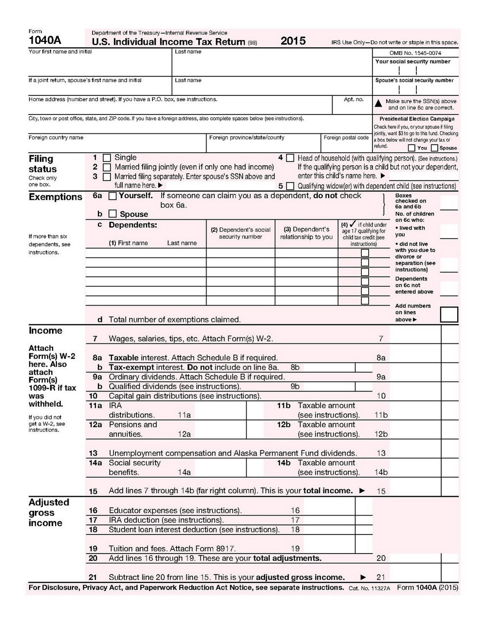 1040 Income Tax Form 2015