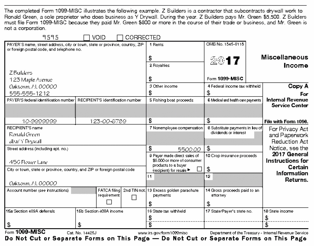 Form 1099 Best Of Instructions For Form 1099 Misc 2017