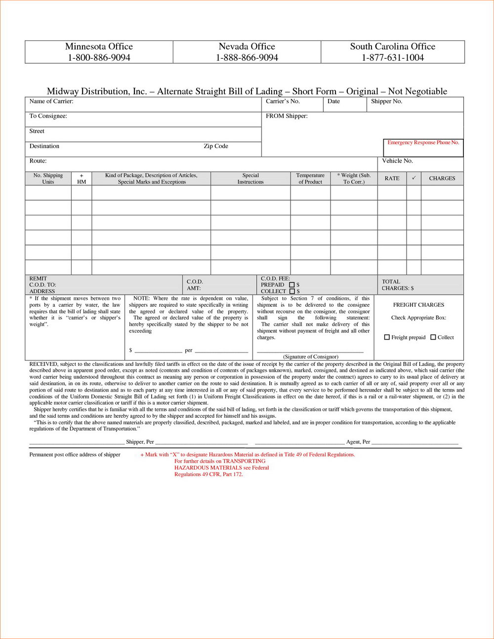 Bill Of Lading Form Free Download