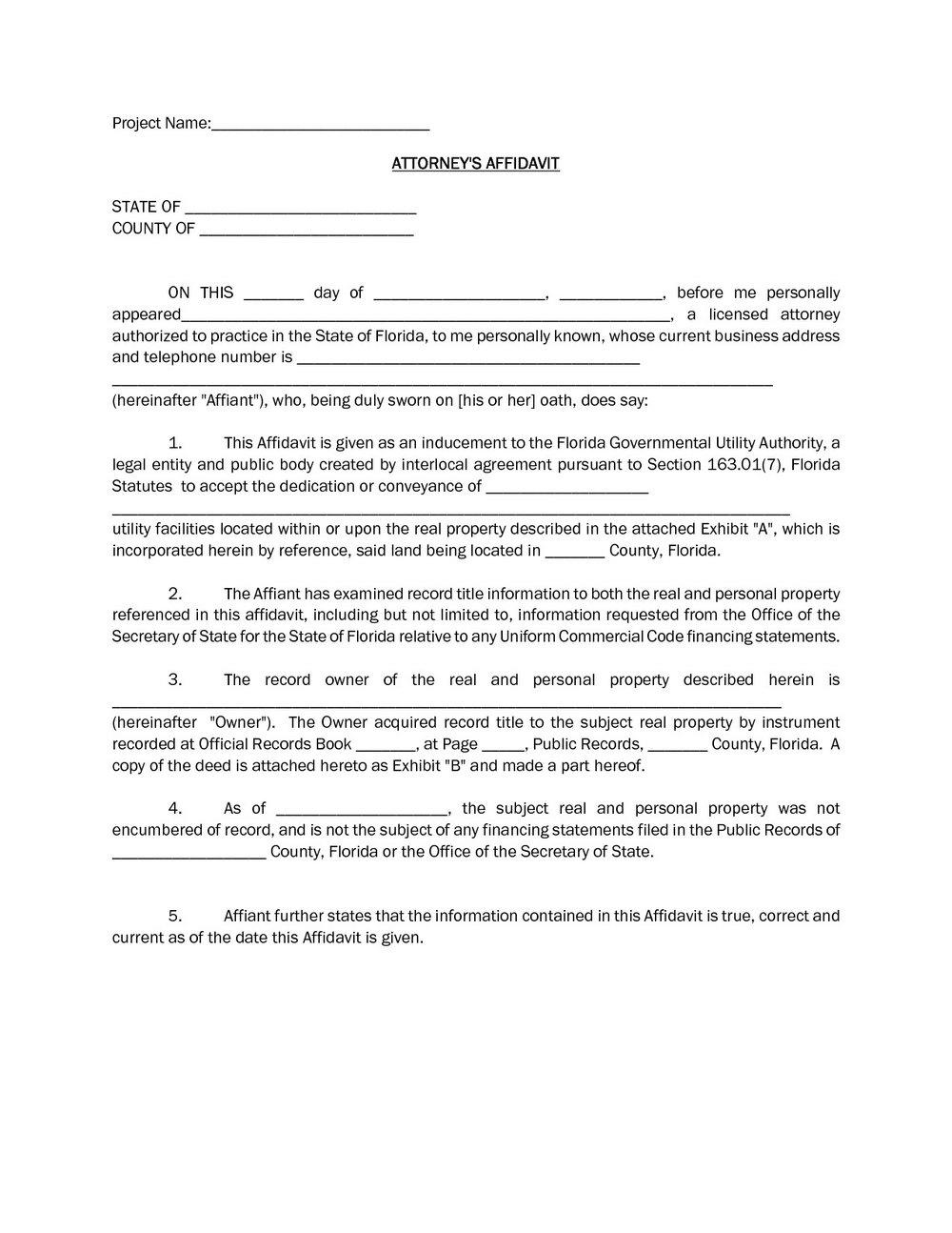 Blank Affidavit Form Nsw