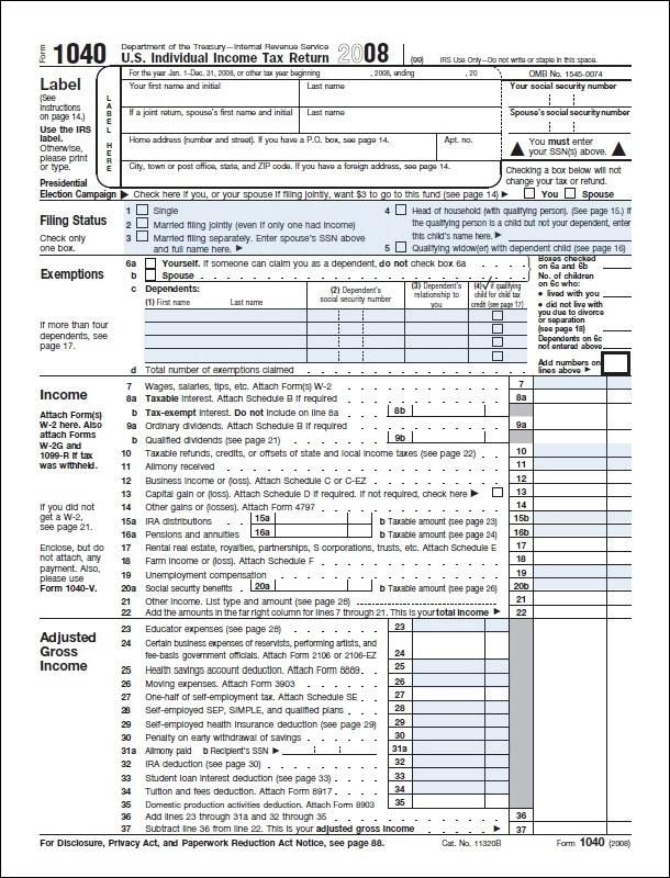 Federal Tax Return Form 1040a