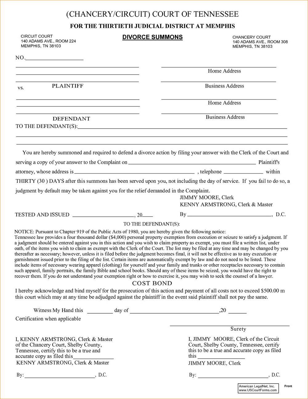 Tn Divorce Forms