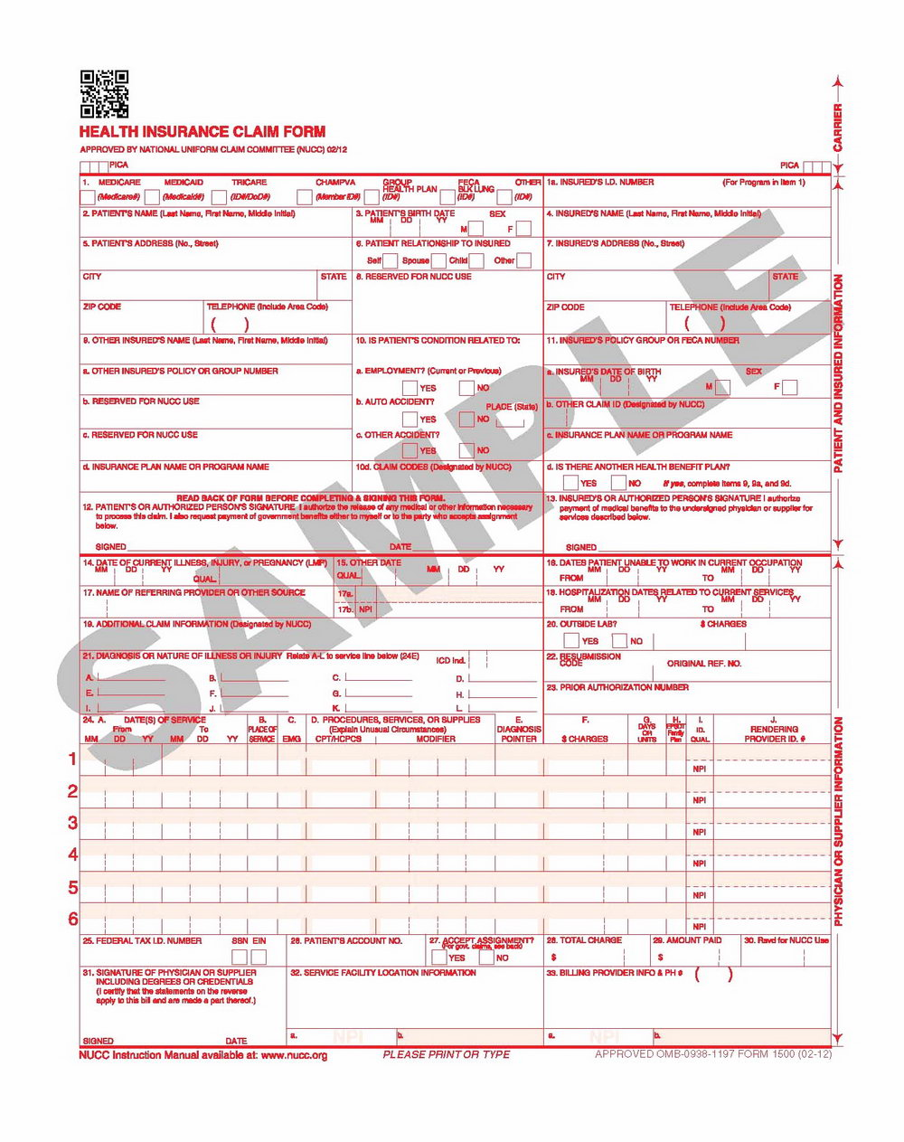 1500 Health Insurance Claim Form Fillable