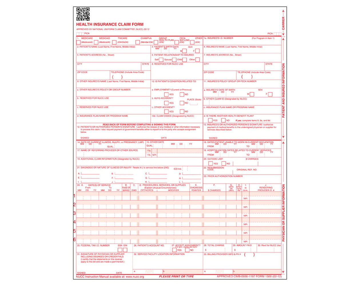 Hcfa Form 1500 Instructions