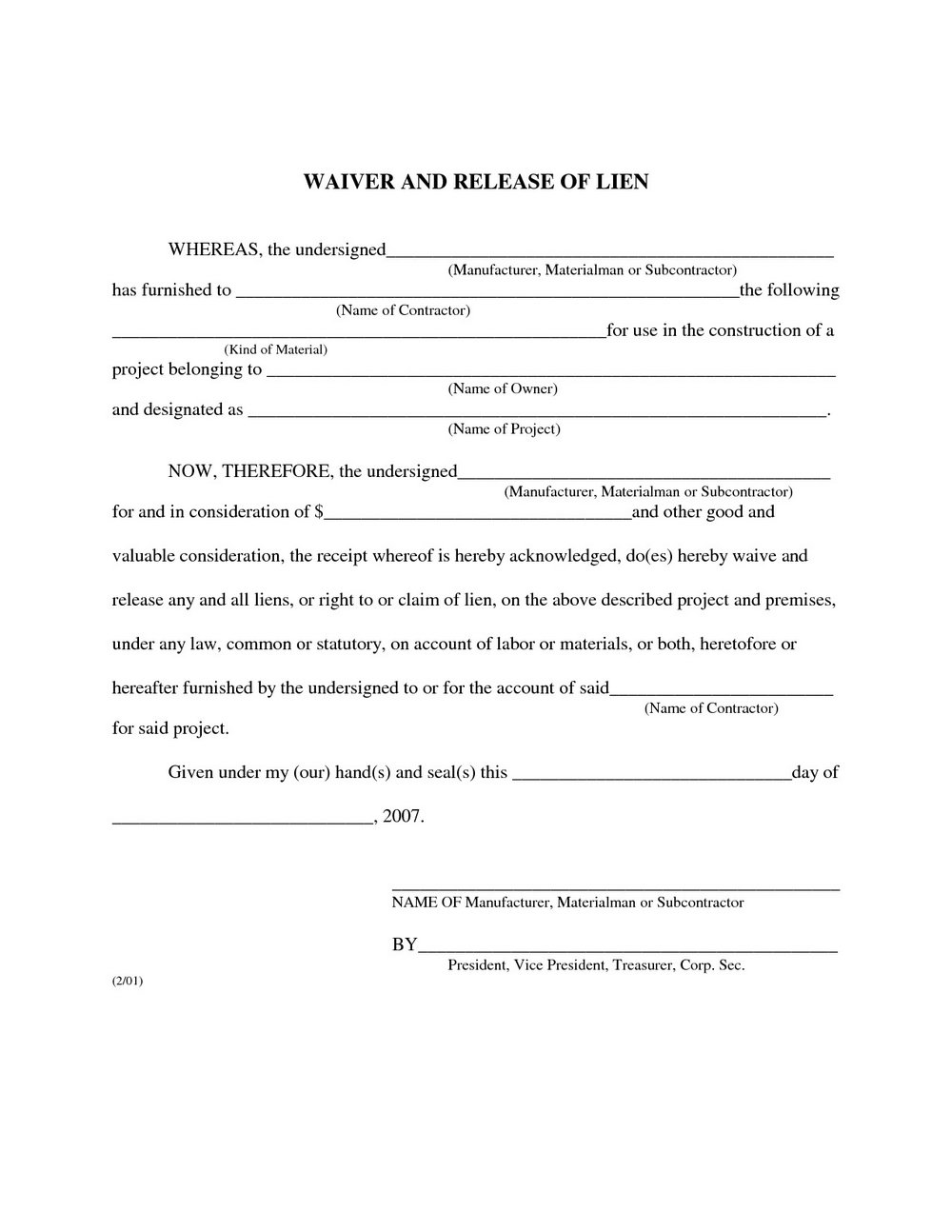 Mechanic Lien Form