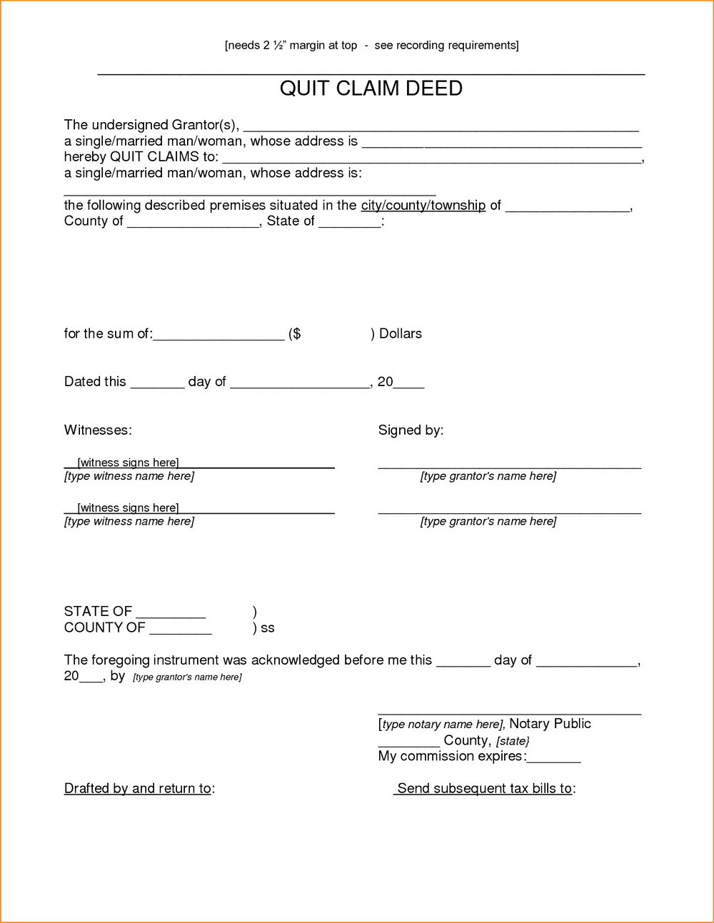 Quit Claim Deed Form Pasco County Florida