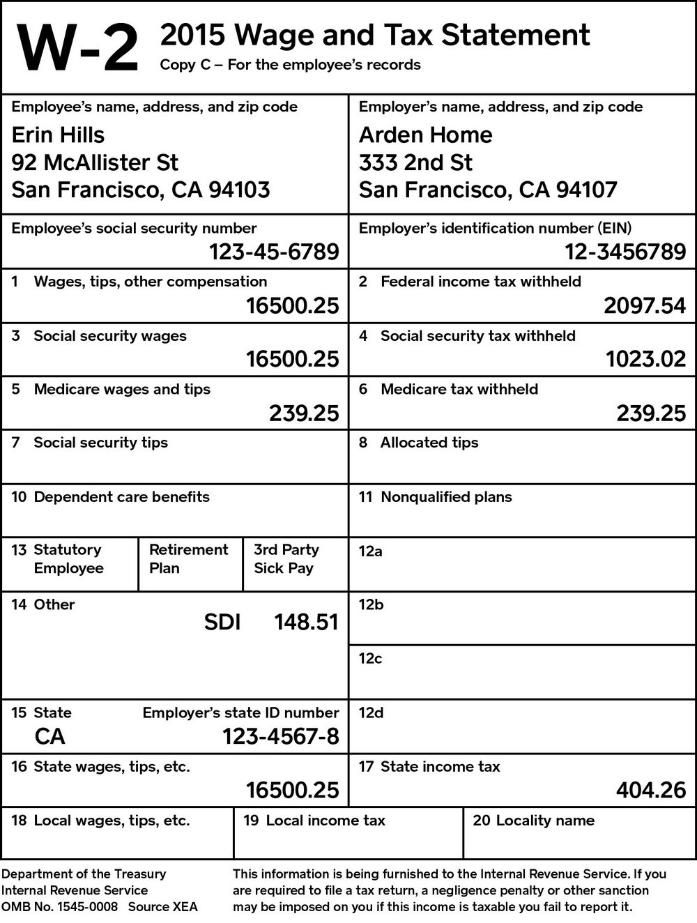 W2 Form For Employees To Fill Out
