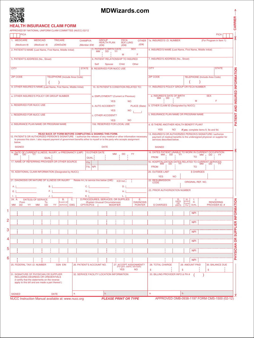Blank Cms 1500 Form Pdf Download