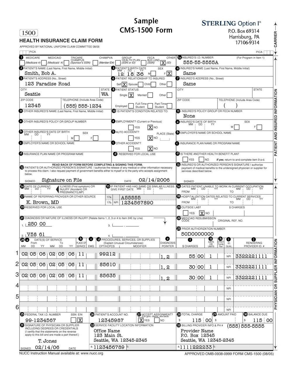 Form 1500 Health Insurance Claim Form
