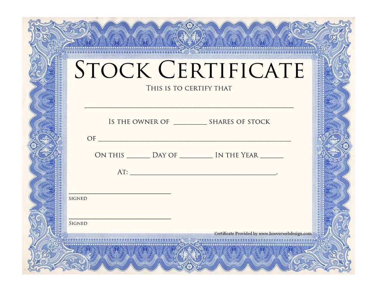 Stock Certificate Template Word