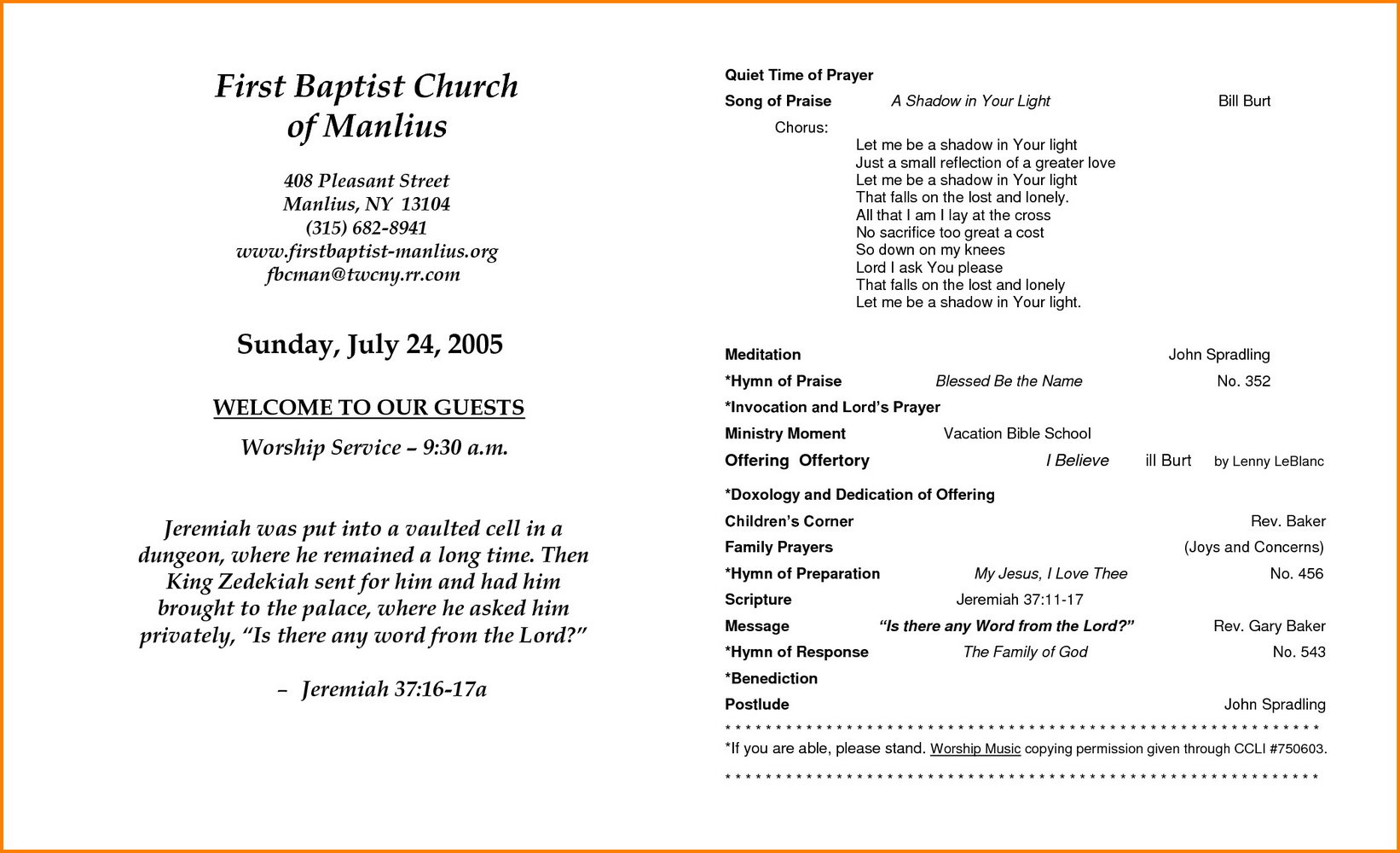 Church Program Templates Free Download