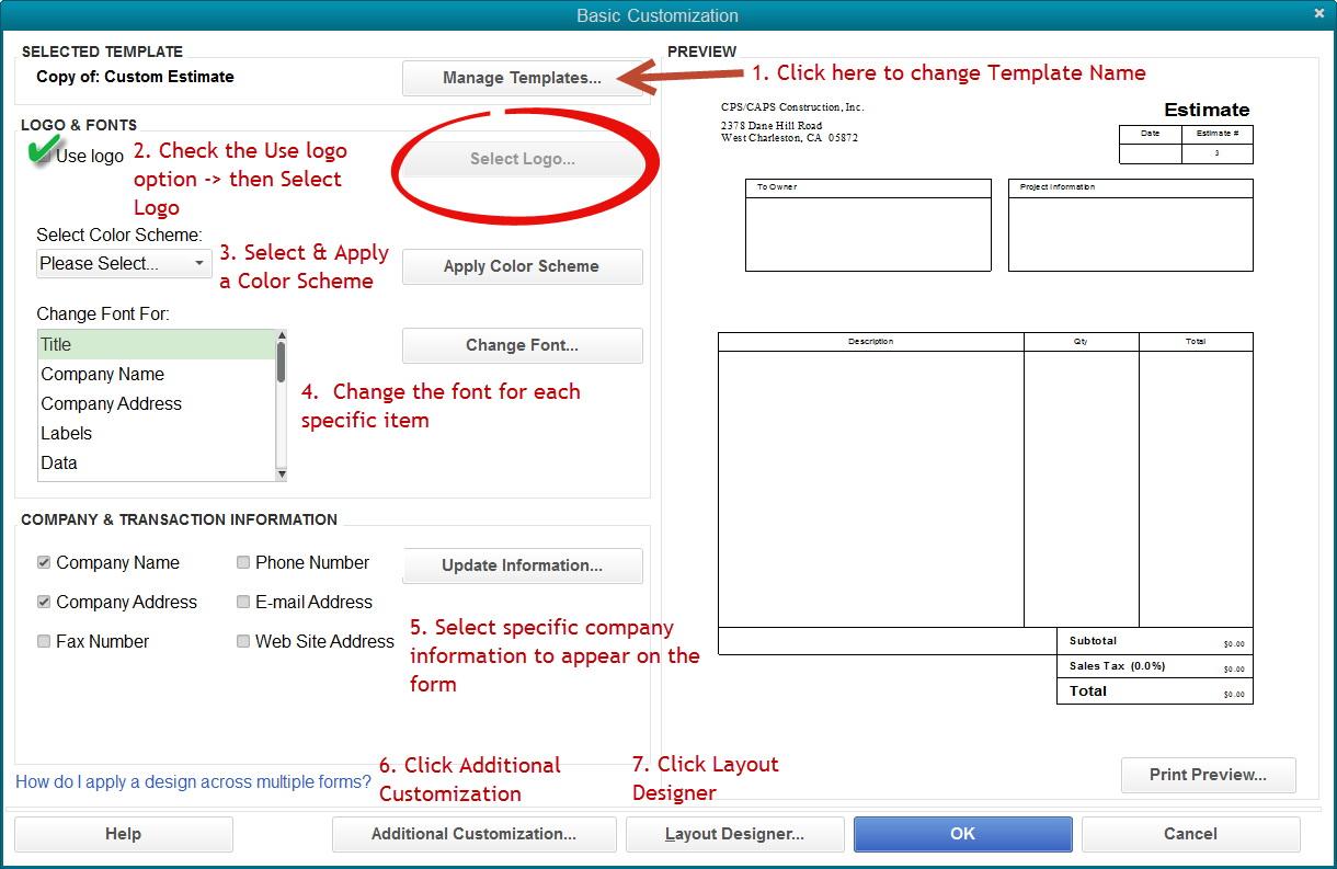 Custom Quickbooks Invoice Templates