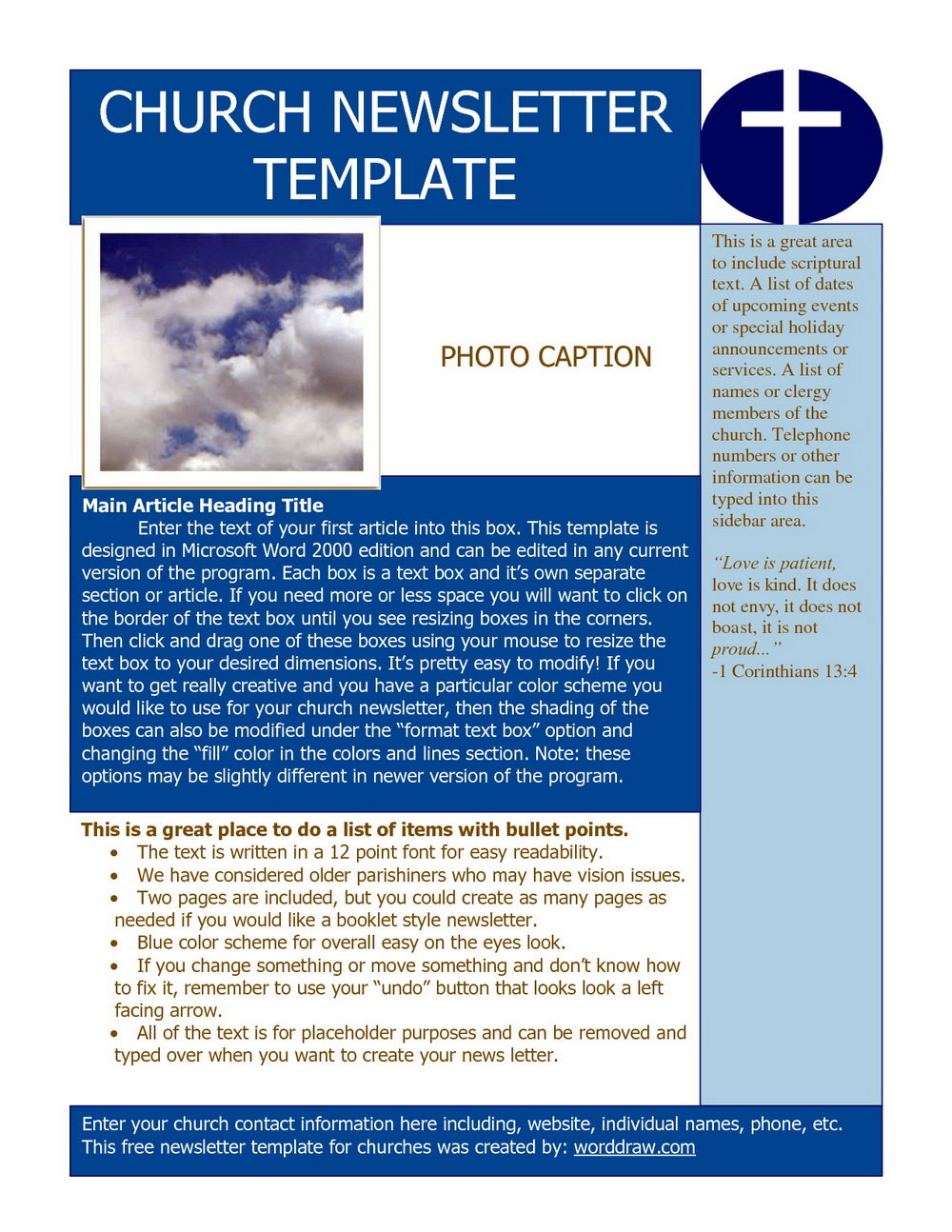 Free Newsletter Templates Word
