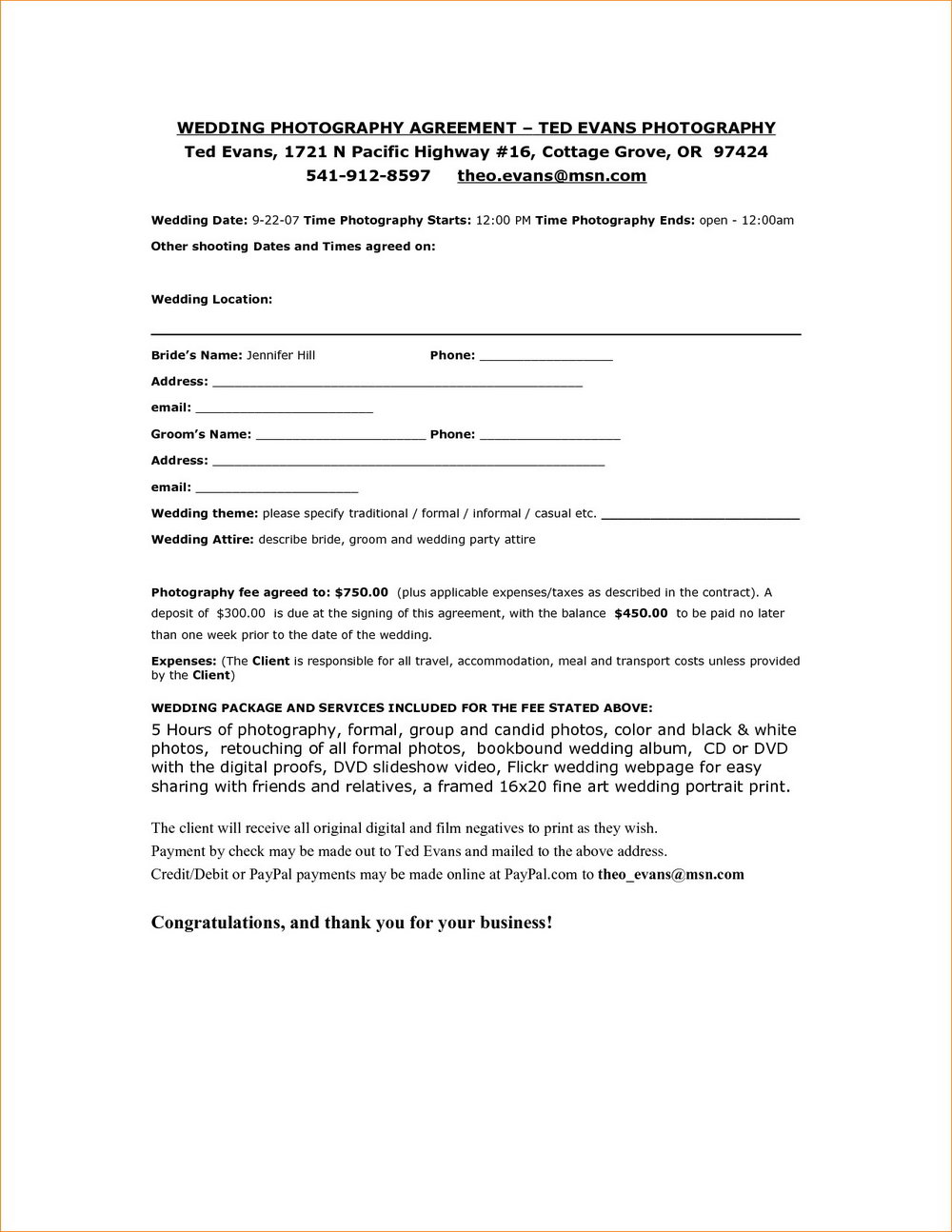 Free Photographer Contract Template