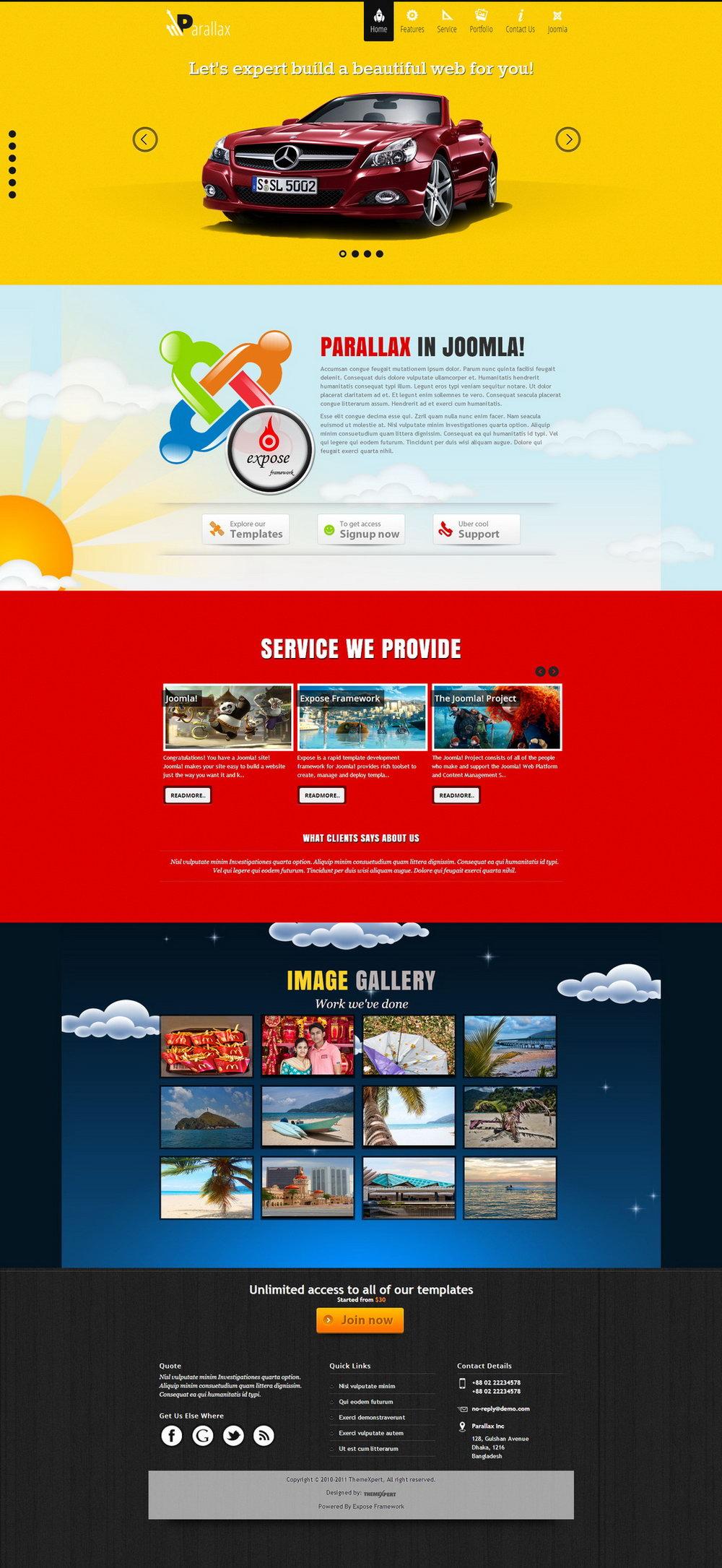 Parallax Website Template Wordpress