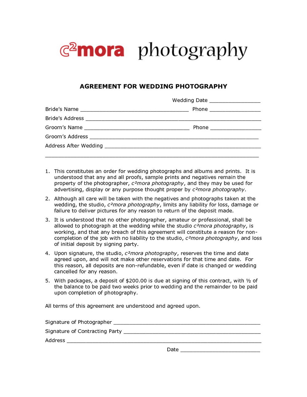 Photographer Contract Template
