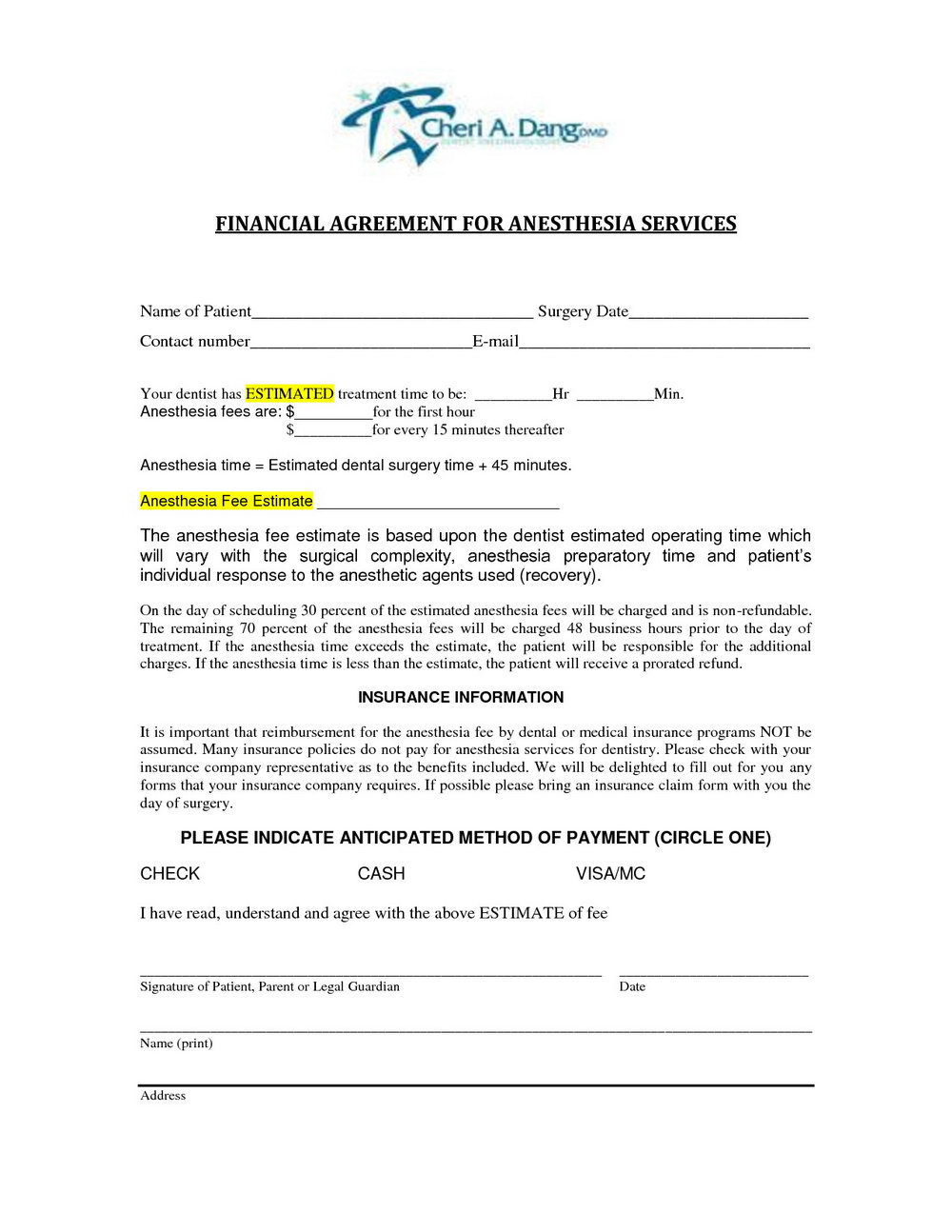 Financial Agreement Template Pdf