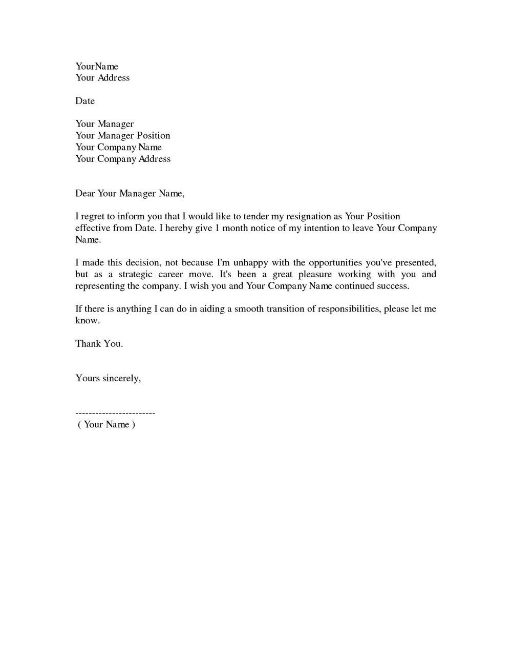 Free Resignation Letter Template Uk