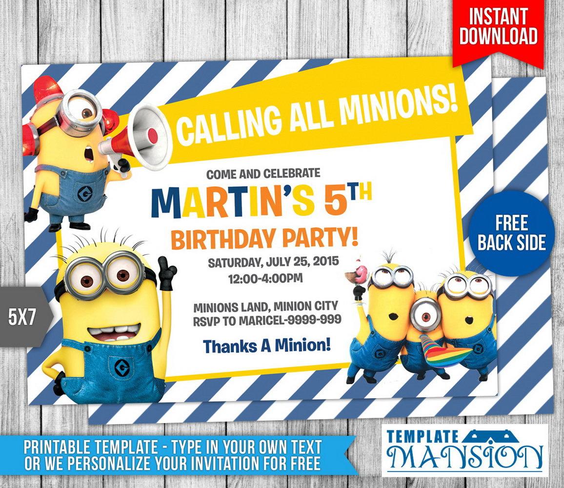 Minion Party Invitations Templates Free