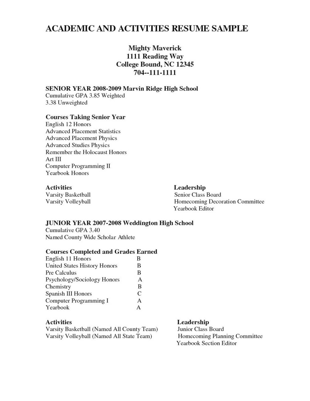 Resume Templates For Highschool Students Applying To College
